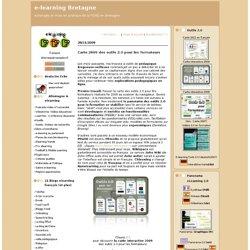 Carte 2009 des outils 2.0 pour les formateurs : e-learning Bretagne
