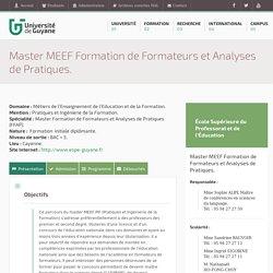 Master MEEF Formation de Formateurs et Analyses de Pratiques.