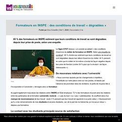 Formateurs en INSPE : des conditions de travail « dégradées » - VousNousIls