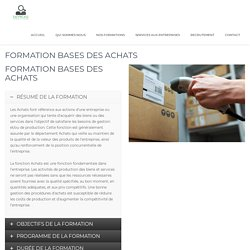 Formation bases des achats