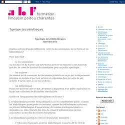Formation ABF Limousin-Poitou-Charentes : Typologie des bibliothèques