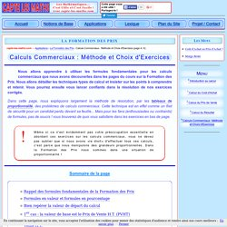 Formation des Prix : Calculs Commerciaux : Méthode et Choix d'Exercices - capte-les-maths
