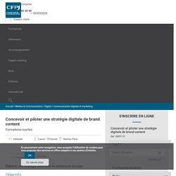 Formation Concevoir et piloter une stratégie digitale de brand content