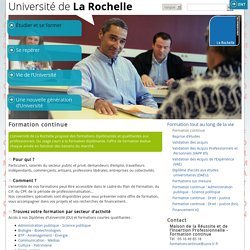 Formation continue - [FORM] Université de La Rochelle [FORM]