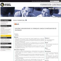 Formation continue de l'Université de Lorraine: Fiche formation