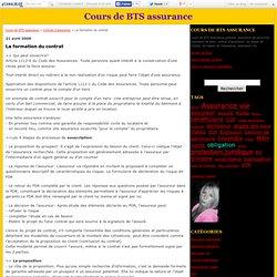 La formation du contrat - Cours de BTS assurance
