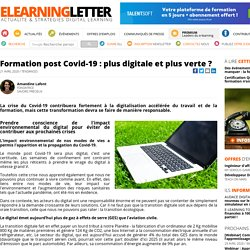 Formation post Covid-19 : plus digitale et plus verte ?