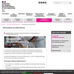Formation en alternance - Ministère du Travail, de l'Emploi et de l'Insertion