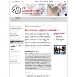 Formation des enseignants et des cadres - CIIP