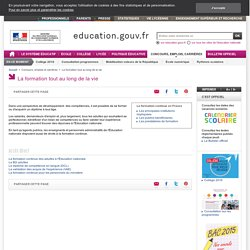 La formation tout au long de la vie - Ministère de l'Educat