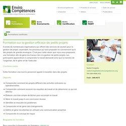 Formation sur la gestion efficace de petits projets » EnviroCompétences