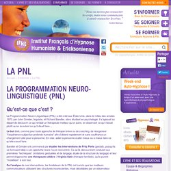 La PNL Formation Hypnose : Institut Français d'Hypnose Ericksonienne & Nouvelle Hypnose