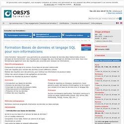 Formation Bases de données et langage SQL pour non-informaticiens
