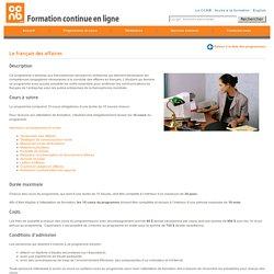 Formation en ligne - information du programme