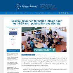 Droit au retour en formation initiale pour les 16-25 ans : publication des décrets