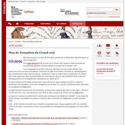 Plan de formation du Grand oral-Lettres-Éduscol