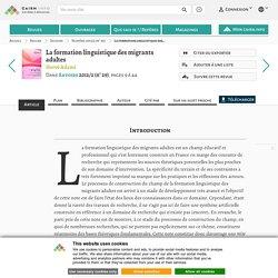 La formation linguistique des migrants adultes