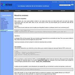 Formation MySQL : requêtes diverses
