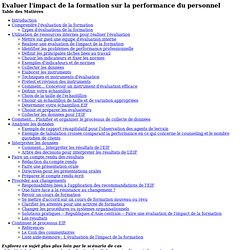ERC - Français - Evaluer l'impact de la formation sur la performance du personnel