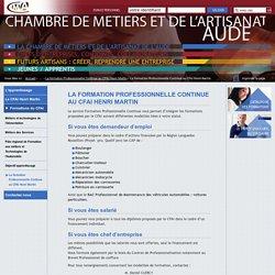 La formation Professionnelle Continue au CFAI Henri Martin - Chambre des Métiers et de l'Artisanat de l'Aude