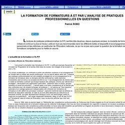Groupe de formation à l'analyse des pratiques professionnelles : GFAPP