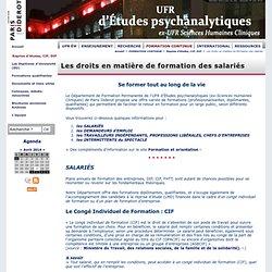 Les droits en matière de formation des salariés - UFR d'Études psychanalytiques