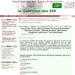 """Dans la série """"Focus"""" (clips de formation du rectorat de Grenoble),(...)"""