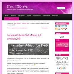 Formation rédaction web à Nantes, 6 Novembre 2015Miss SEO Girl