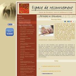 """Formation et cours de """"Massage Bébés"""" : Espace de ressourcement et de bien être à Liege"""