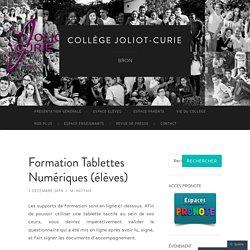 Formation Tablettes Numériques (élèves)