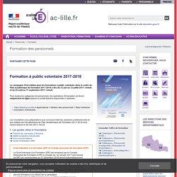 Formation à public volontaire - Académie de Lille