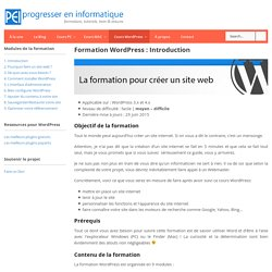 Formation Wordpress : Introduction