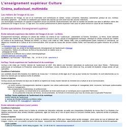 Infos pratiques : formations - cinéma, audiovisuel, multimédia