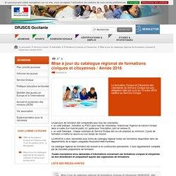 Mise à jour du catalogue régional de formations civiques et citoyennes / Année 2016 - DRJSCS Occitanie