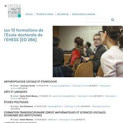 Les 13 formations de l'Ecole doctorale de l'EHESS (ED 286)