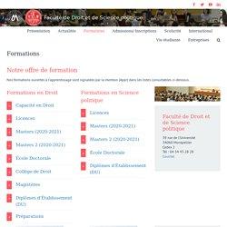 Formations – Faculté de Droit et Science politique