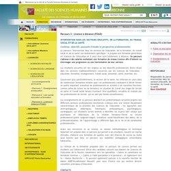 Parcours 3 : Licence à distance (FOAD) / SCIENCES DE L'ÉDUCATION / LICENCES / FORMATIONS / SHS / ParisDescartes - Universite Paris Descartes