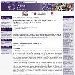 Analyse de formations aux TICE pour les professeurs de français du système éducatif italien