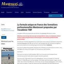 La formule unique en France des formations professionnelles Montessori proposées par l'Académie TMF – Académie Tout Montessori en France