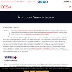 À propos d'une dictature. - CFS+ : Conseils Formations Services pour les professionnels de la formation