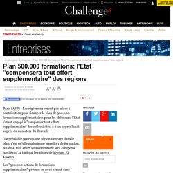 """Plan 500.000 formations: l'Etat """"compensera tout effort supplémentaire"""" des régions"""