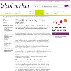 Formativ bedömning stärker lärandet