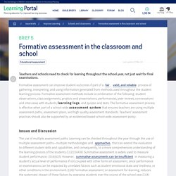 Formative assessment in the classroom and school