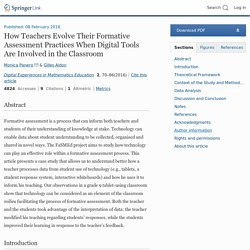 How Teachers Evolve Their Formative Assessment Practices When Digital Tools Are Involved in the Classroom