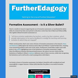 Formative Assessment – Is it a Silver Bullet?