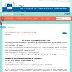 Etre formateur-formatrice aujourd'hui en Europe - Commission européenne