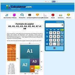 Formats de papier A0, A1, A2, A3, A4, A5, A6, A7 et A8