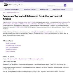Samples of Formatted References for Authors of Journal Articles
