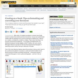Creating an e-book: Tips on formatting and converting your document