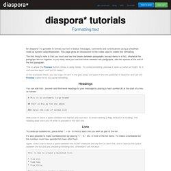 Formatting text - The diaspora* Project